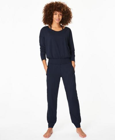 Gary Long Sleeve Jumpsuit, Navy Blue | Sweaty Betty
