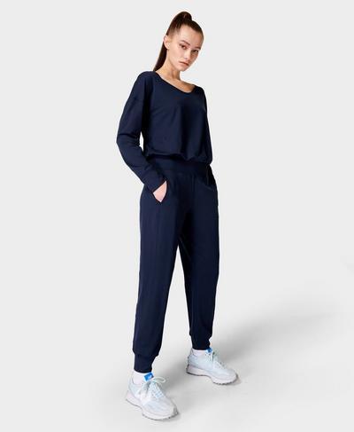 Gary Jumpsuit mit langen Ärmeln, Navy Blue | Sweaty Betty