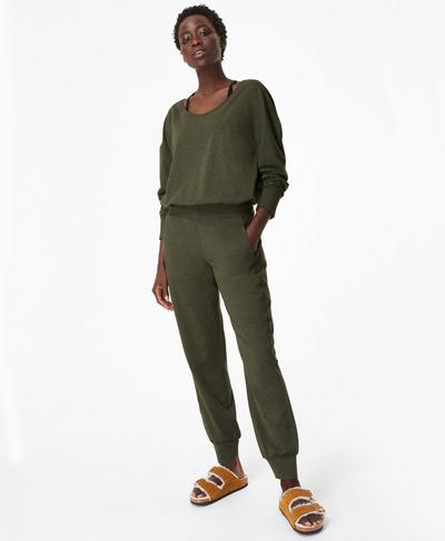 Gary Long Sleeve Jumpsuit, Olive Green Marl | Sweaty Betty