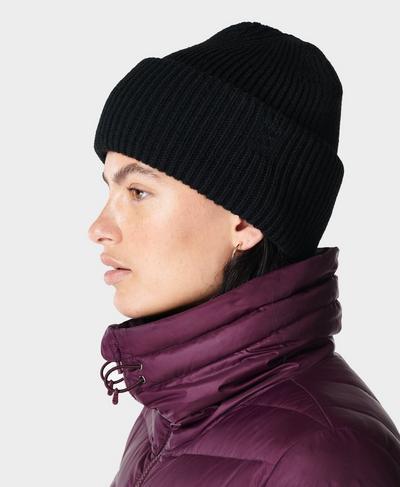 Rib Merino Knit Hat, Black | Sweaty Betty