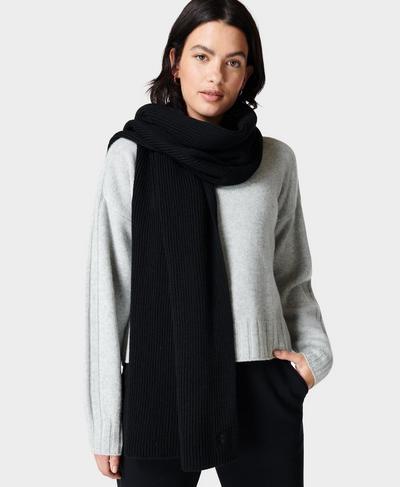 Texture Merino Knitted Scarf, Black | Sweaty Betty