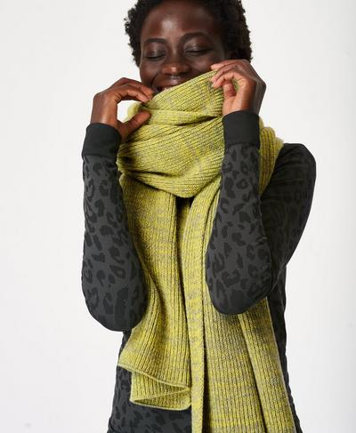 Texture Merino Knitted Scarf, Charcoal Grey | Sweaty Betty