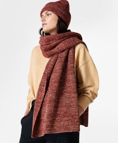 Texture Merino Knitted Scarf, Falu Red | Sweaty Betty