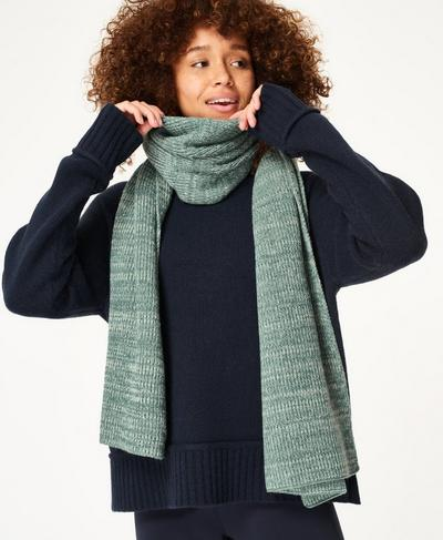 Texture Merino Knitted Scarf, Tile Green | Sweaty Betty