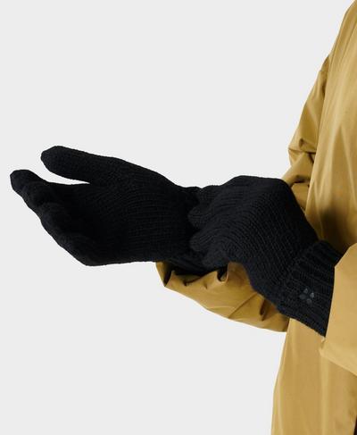 Texture Merino Knitted Gloves, Black | Sweaty Betty