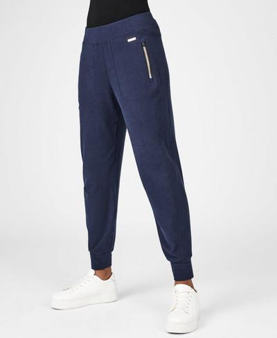 Garudasana Luxe Fleece Pants, Beetle Blue | Sweaty Betty