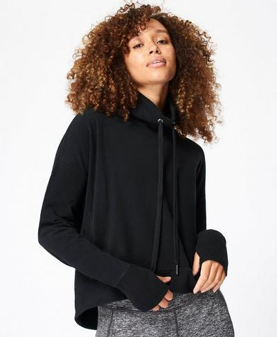 Harmonise Luxe Fleece Jumper, Black | Sweaty Betty