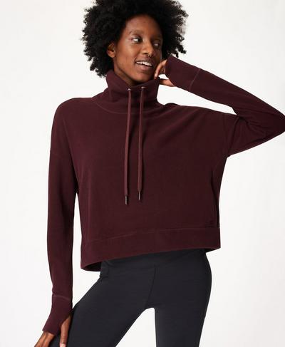 Harmonise Luxe Fleece Jumper, Black Cherry | Sweaty Betty