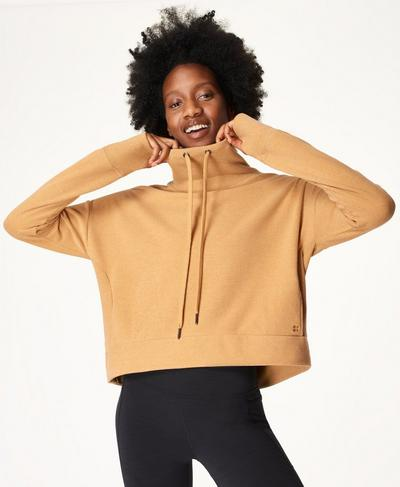 Harmonise Luxe Fleece Sweatshirt, Camel Brown | Sweaty Betty