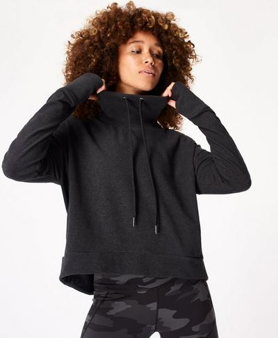 Harmonise Luxe Fleece Jumper, Charcoal Marl | Sweaty Betty