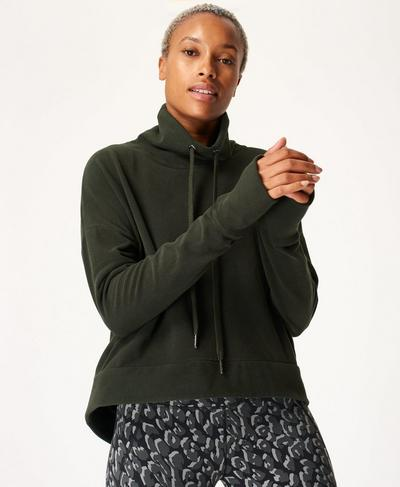 Harmonise Luxe Fleece Jumper, Dark Forest Green | Sweaty Betty
