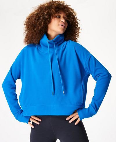 Harmonise Luxe Fleece Jumper, Electric Blue | Sweaty Betty