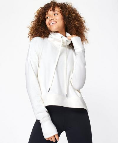 Harmonise Luxe Fleece Jumper, Flint White | Sweaty Betty