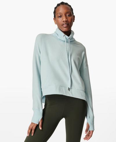 Harmonise Luxe Fleece Jumper, Ice Blue | Sweaty Betty