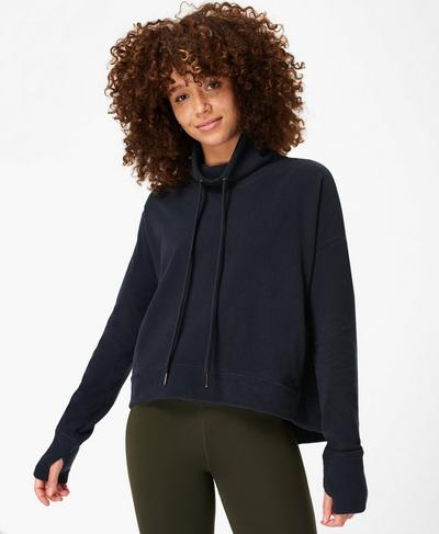 Harmonise Luxe Fleece Jumper, Navy Blue | Sweaty Betty
