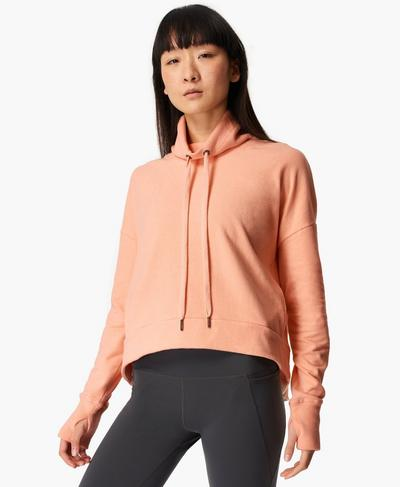 Harmonise Luxe Fleece Jumper, Peach Orange Marl | Sweaty Betty