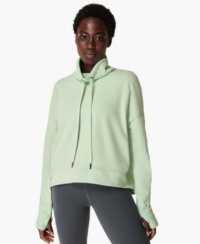 Harmonise Luxe Fleece Jumper, Salix Green | Sweaty Betty