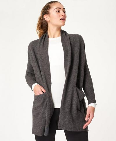 Compose Cashmere Cardigan, Charcoal Grey | Sweaty Betty