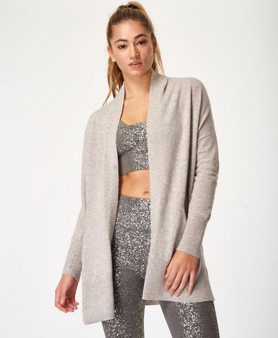 Compose Cashmere Cardigan, Light Grey Marl | Sweaty Betty