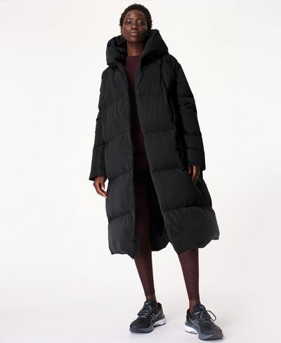 Cocoon Down Puffer Wrap Coat, Black | Sweaty Betty