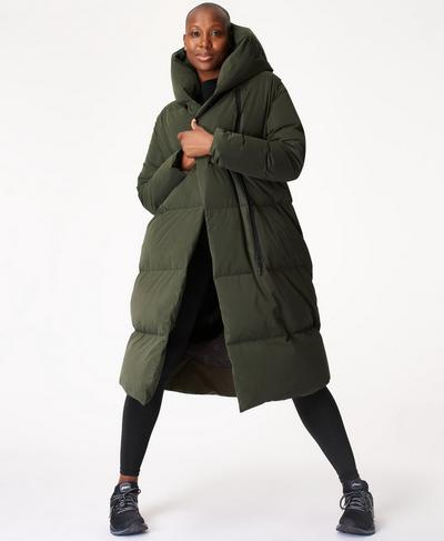 Cocoon Down Puffer Wrap Coat, Dark Forest Green | Sweaty Betty