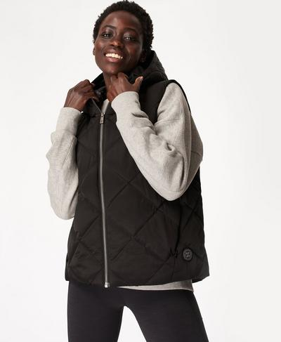 Pioneer Quilted Puffer Gilet, Black | Sweaty Betty