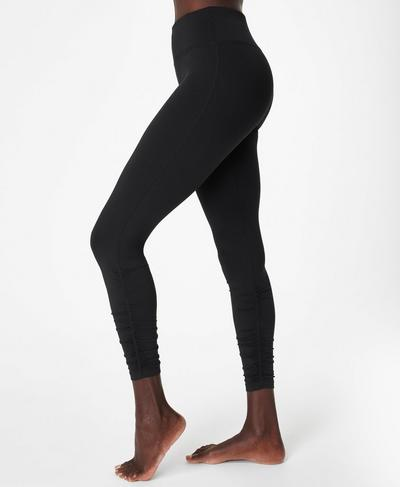 All Day Ruched Hem Gym 7/8 Leggings, Black | Sweaty Betty