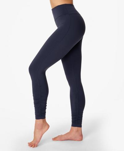 All Day Ruched Hem Gym Leggings, Navy Blue | Sweaty Betty