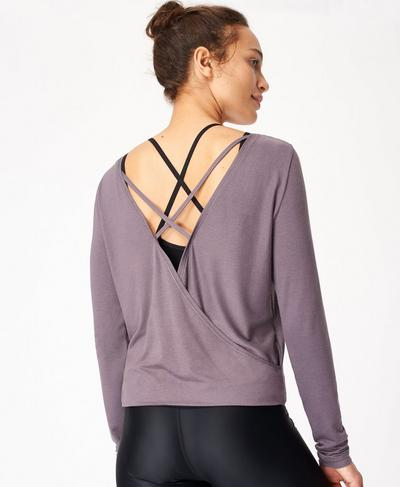 Tranquil Yoga Long Sleeve Top, Moonrock Purple | Sweaty Betty