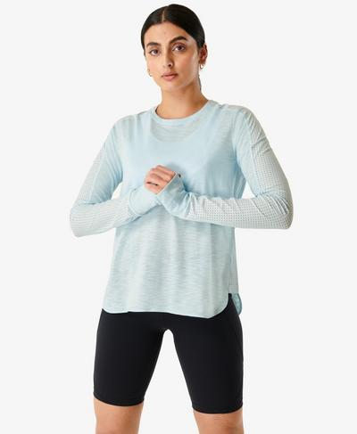 Breeze Long Sleeve Running Top, Alpine Blue | Sweaty Betty