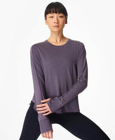 Breeze Merino Long Sleeve Running Top, Fig Purple | Sweaty Betty