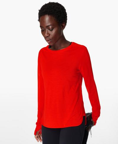 Breeze Merino Long Sleeve Running Top, Rich Red | Sweaty Betty