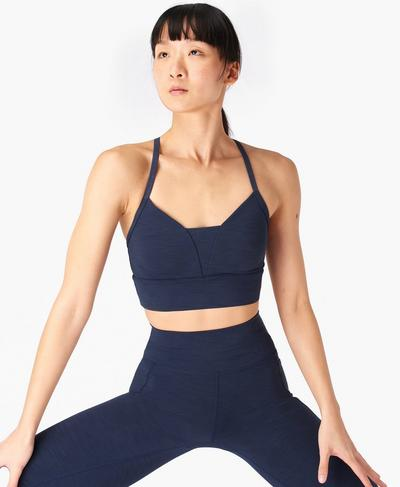 Super Sculpt Bra, Navy Blue Marl | Sweaty Betty