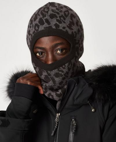 Ski Leopard Balaclava, Slate Grey Leopard Print | Sweaty Betty