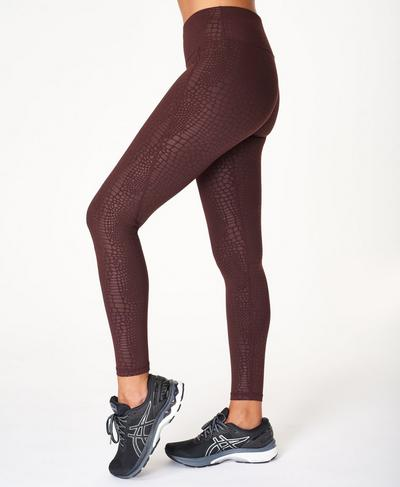 All Day Emboss Gym Leggings, Black Cherry Croc Emboss Print | Sweaty Betty