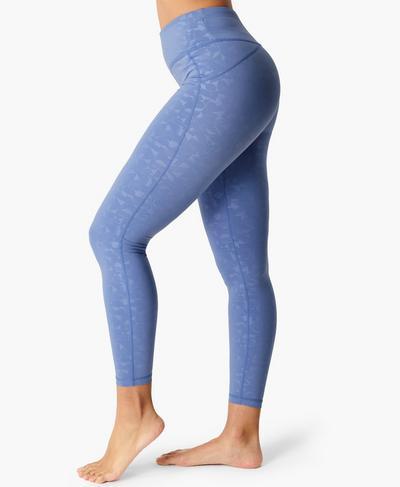 All Day Emboss Fitness Leggings, Blue Block Emboss Print | Sweaty Betty
