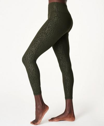 All Day Emboss 7/8 Workout Leggings, Green Animal Emboss Print | Sweaty Betty