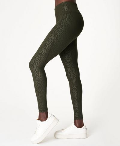 All Day Emboss Gym Leggings, Green Animal Emboss Print | Sweaty Betty