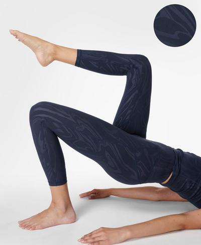 All Day Emboss 7/8 Workout Leggings, Navy Blue Slick Emboss Print | Sweaty Betty