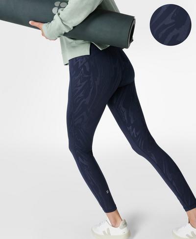 All Day Emboss Gym Leggings, Navy Blue Slick Emboss Print | Sweaty Betty