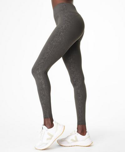 All Day Emboss Gym Leggings, Slate Grey Floral Emboss Print | Sweaty Betty