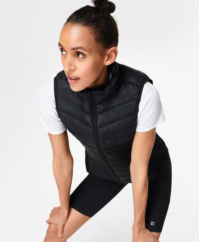 Accelerate Running Gilet, Black | Sweaty Betty