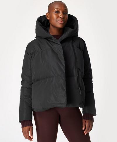 Cocoon Down Wrap Short Jacket, Black | Sweaty Betty