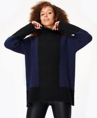 Elemental Wool Roll Neck Jumper, Black | Sweaty Betty