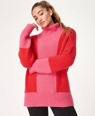 Elemental Wool Roll Neck Jumper, PINK | Sweaty Betty