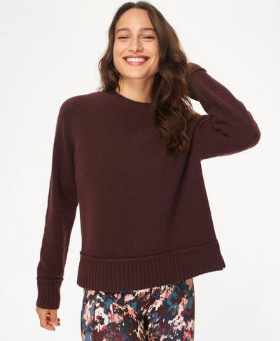 Elevate Mountain Wool Crew Neck Jumper, Black Cherry Purple | Sweaty Betty
