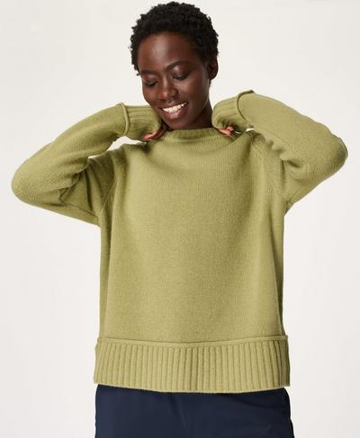 Elevate Mountain Wool Crew Neck Jumper, Fern Green | Sweaty Betty