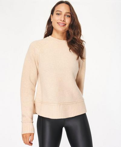 Elevate Mountain Wool Crew Neck Jumper, Lily White | Sweaty Betty