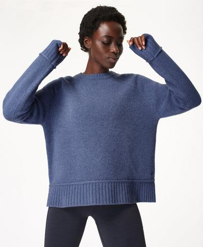 Elevate Mountain Wool Crew Neck Jumper, Mid Blue | Sweaty Betty