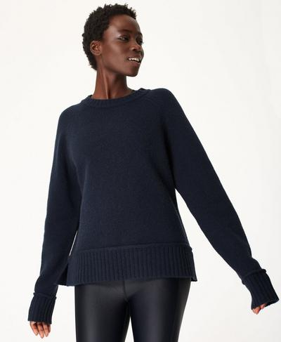 Elevate Mountain Wool Crew Neck Jumper, Navy Blue | Sweaty Betty